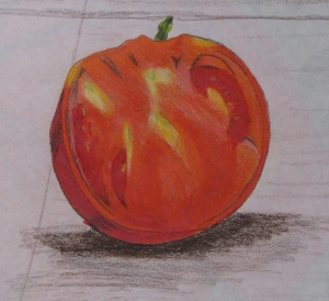"Still LIfe with Tomato, detail, Russell Steven Powell colored pencil, 17""x14"""
