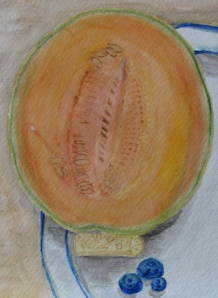 "Still Life with Cantaloupe, detail, Russell Steven Powell watercolor, 11""x15"""