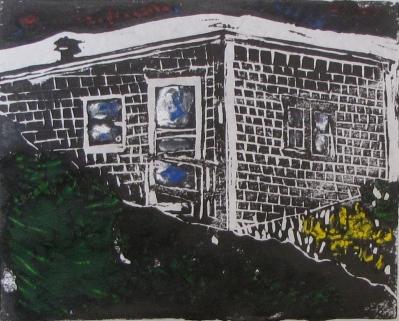Euphoria Nightfall, Russell Steven Powell linoprint, 10x8