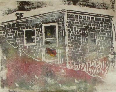 Euphoria Winter, Russell Steven Powell linoprint, 10x8