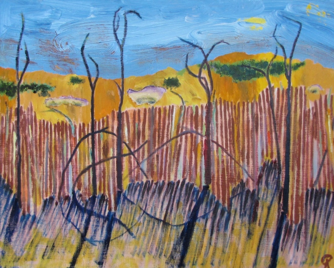 Drift Fence, Dunes, Russell Steven Powell oil on canvas, 20x16
