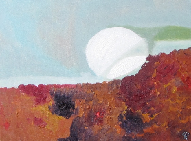 Moon Over Dunes, Russell Steven Powell oil on canvas, 16x12